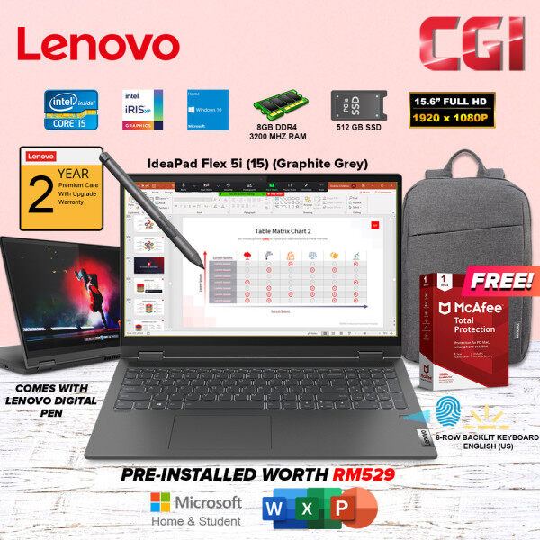 Lenovo 15.6 Laptop Ideapad Flex 5i Intel Core i5-1135G7 Processor Intel Iris XE Graphics W10H 8GB RAM 512GB SSD Office Home & Student 2019(82HT000VMJ)-Graphic Grey Malaysia