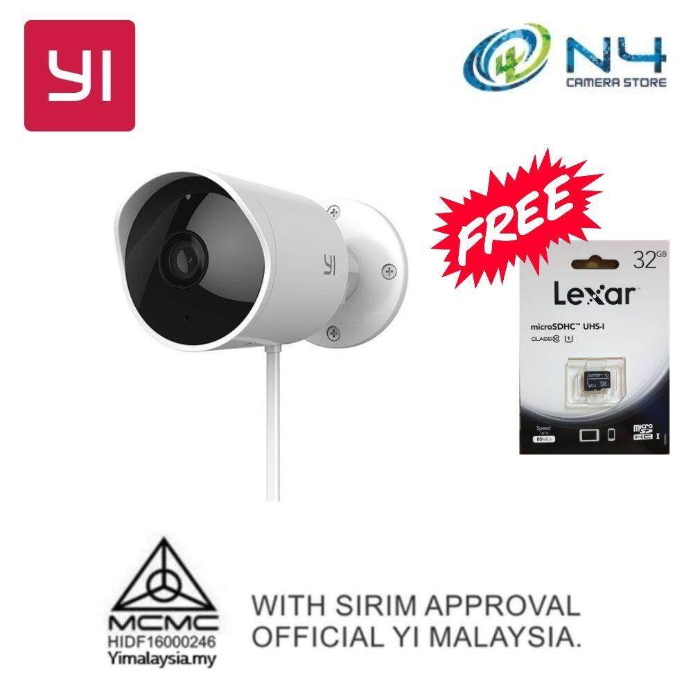 [CCTV Promotion] Yi Outdoor Camera 1080P HD & Weatherproof & 110° wide  angle lens & Deterrent Alarm + Micro 32gb Memory Card (Original Yi Warranty)