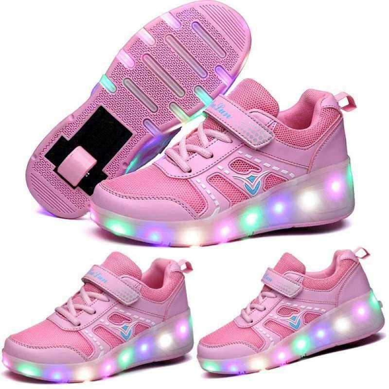 Phân phối Moven Sạc Bé Trai Giày Đèn Led Giày Có Bé Gái Lăn Giày Trẻ Em LED Sáng Đèn Bánh Xe