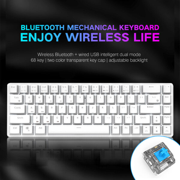 68 Keys Bluetooth USB Wired Backlight Mechanical Keyboard for Gamer Office Singapore