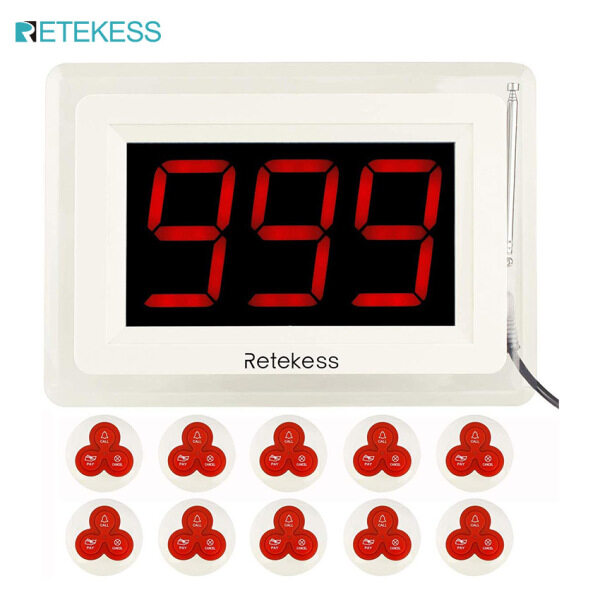 Retekess T114 Wireless Calling System Restaurant Pager Caregiver Nurse Call 1 PC Display Receiver and 10 PC 3-Key Waterproof Call Button for Hospital