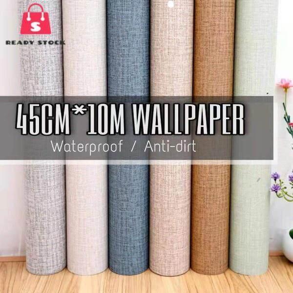 Hot Rss (10M Lengthx45CM Width) DIY Self Adhesive Decorative Wallpaper (Plain Corak) Kertas Dinding