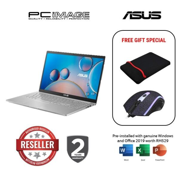 ASUS Laptop (A516E-ABQ1300TS) i3-1115G4 / 4GB Ram / 256GB SSD / 15.6 FHD / MS Office / 2 Yrs Warranty - Silver ( No Backpack) Malaysia