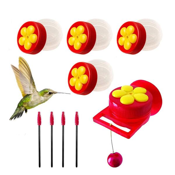 Chim Ruồi Nhỏ Cho Chim Ăn Kết Hợp Nhà Sản Xuất Cốc Hút Cửa Sổ Ngoài Trời Sản Xuất Tại Chỗ Bird Feeder Mũ Đỏ Bán Hàng Nền Tảng Xuyên Biên Giới, Hoa Màu Vàng