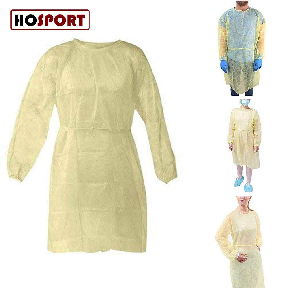 [hosport] 10pcs/set Disposable Bandage Coveralls Surgical Gown Dust-Proof Isolation Clothes Labour Suit Non-Woven Security Protection Clothing.