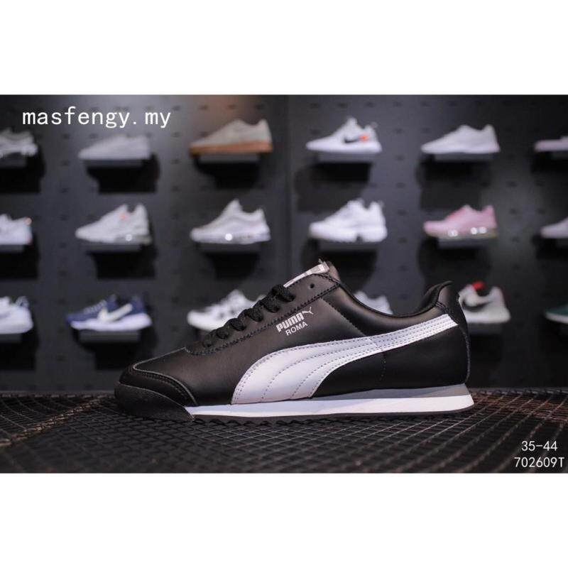 puma_ Roma Basic Sepatu Wanita Pria Olahraga Kulit Hitam Sepatu Lari Kasual