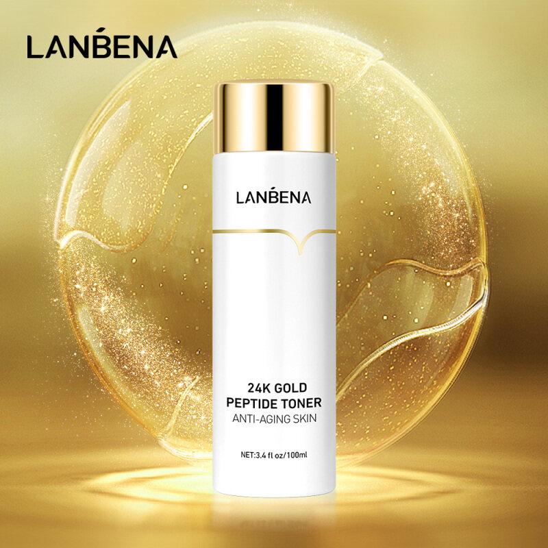 LANBENA 24K Gold Peptide Toner Anti-Aging Skin Brilliant Up Lighten Fine Lines Moisturizing and Soothing 100ml