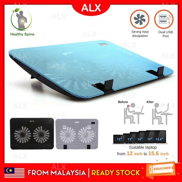 ALX BORONG Malaysia Powerful Dual USB Laptop Cooling Pad Cooler Fan Large 2 Fans Adjustable Height for 12-15.60 inch Malaysia