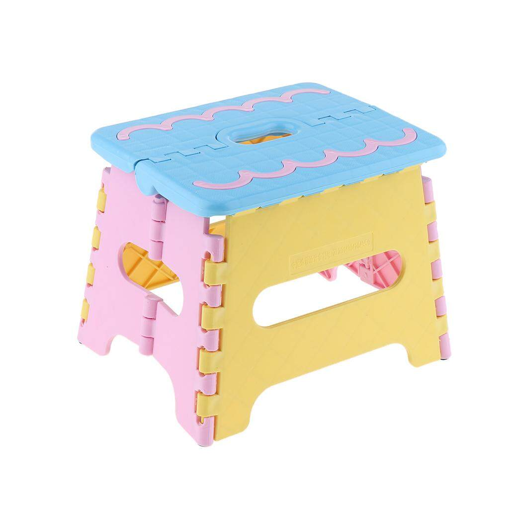 Fityle Folding Step Stool Anti-slip Surface for Kid with Handle Polypropylene Stool