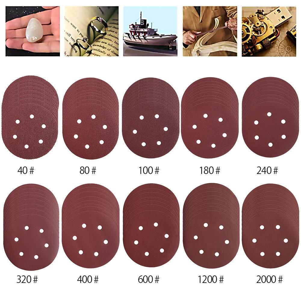 100pcs 150mm Sanding Discs Pads, Hook and Loop Grits 6-Holes Sandpaper
