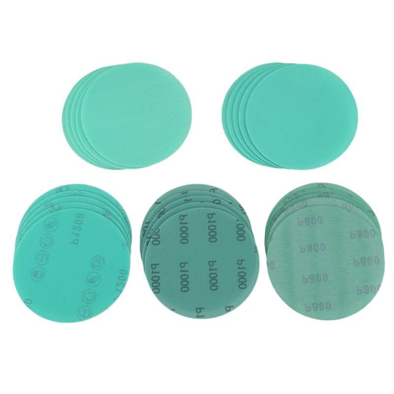 25Pcs Wet and Dry Disc Sandpaper Set Including 5 Green Leather Sandpaper Discs of Specifications 800,1000,1200,1500,2000