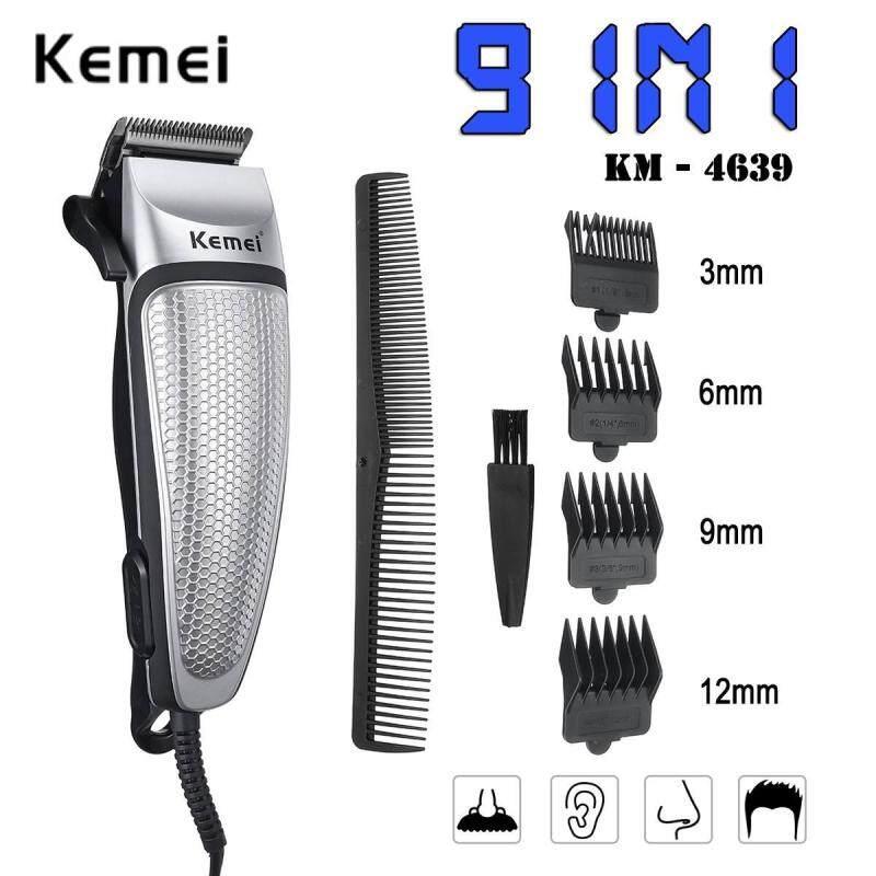 Kemei 9 trong 1 clip cắt tóc điện Pluggable chuyên nghiệp Cắt tóc cho nam Dụng cụ làm tóc Máy cạo râu Máy cắt tóc