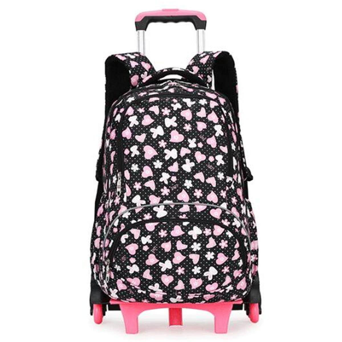 Kids Student Trolley Backpack School Luggage Hand Bag With 6 Wheels Removable