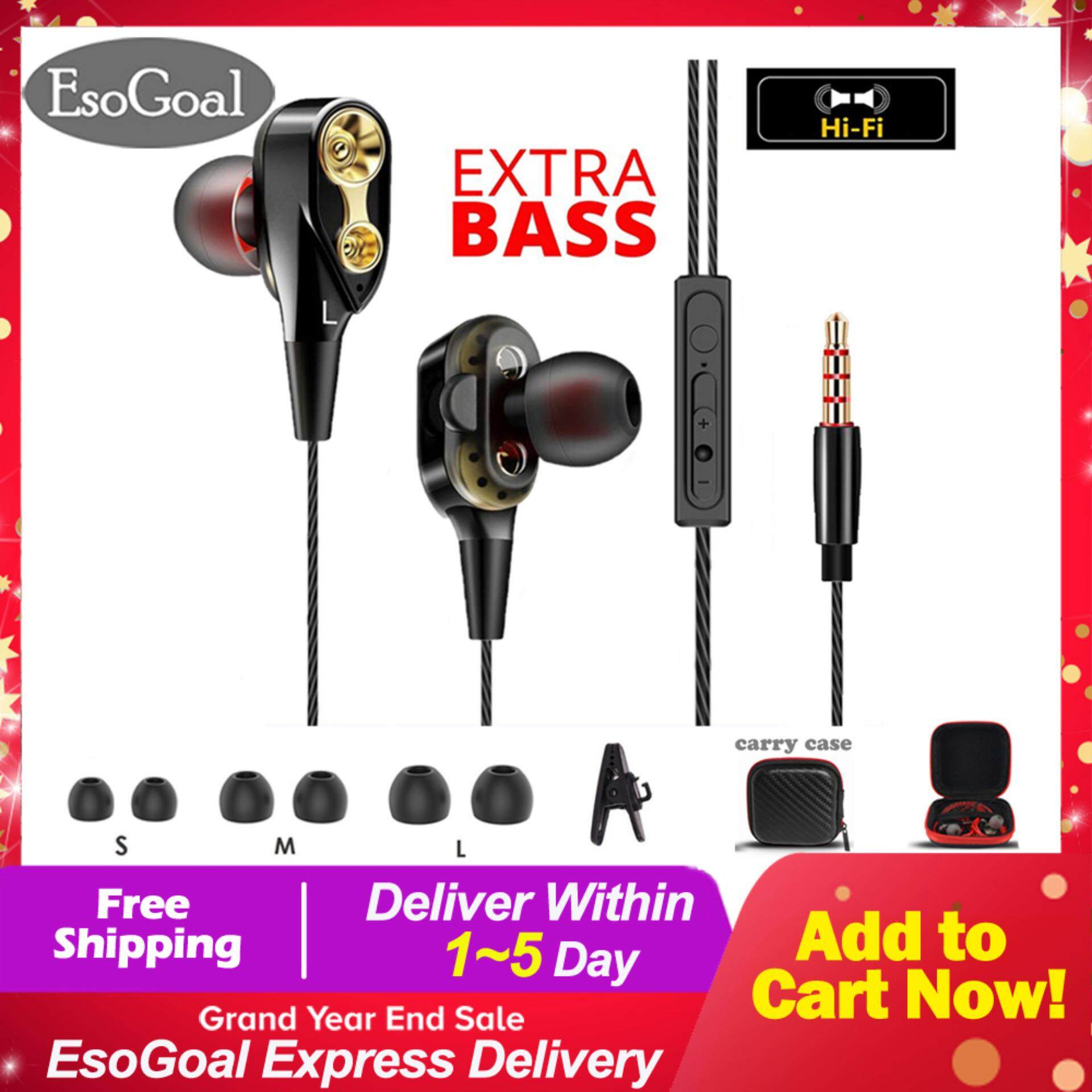 EsoGoal In-ear Earbuds Headphones Dual Dynamic Drivers Earphones with Mic Strong Bass and Noise