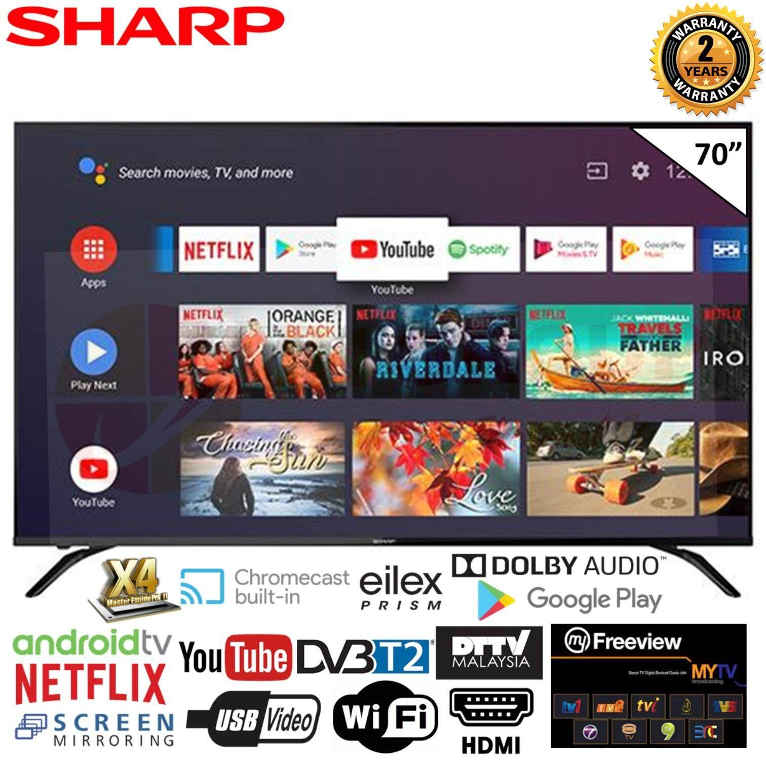(AUTHORISED DEALER) SHARP 4TC70AL1X 70 4K UHD DVB-T2 ANDRIOD TV DTTV IDTV MYTV MYFREEVIEW SUPPORTED