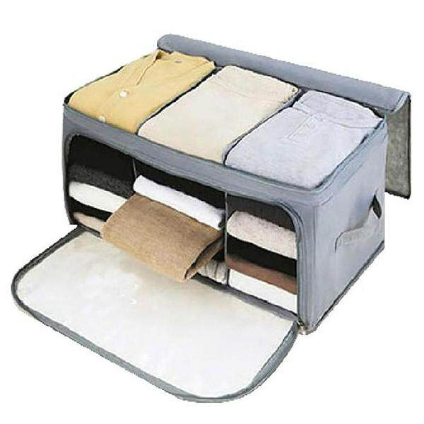 Visual Double Open Foldable Home Storage Bag Box Cloths Quilt Blanket Organizer Bamboo Charcoal