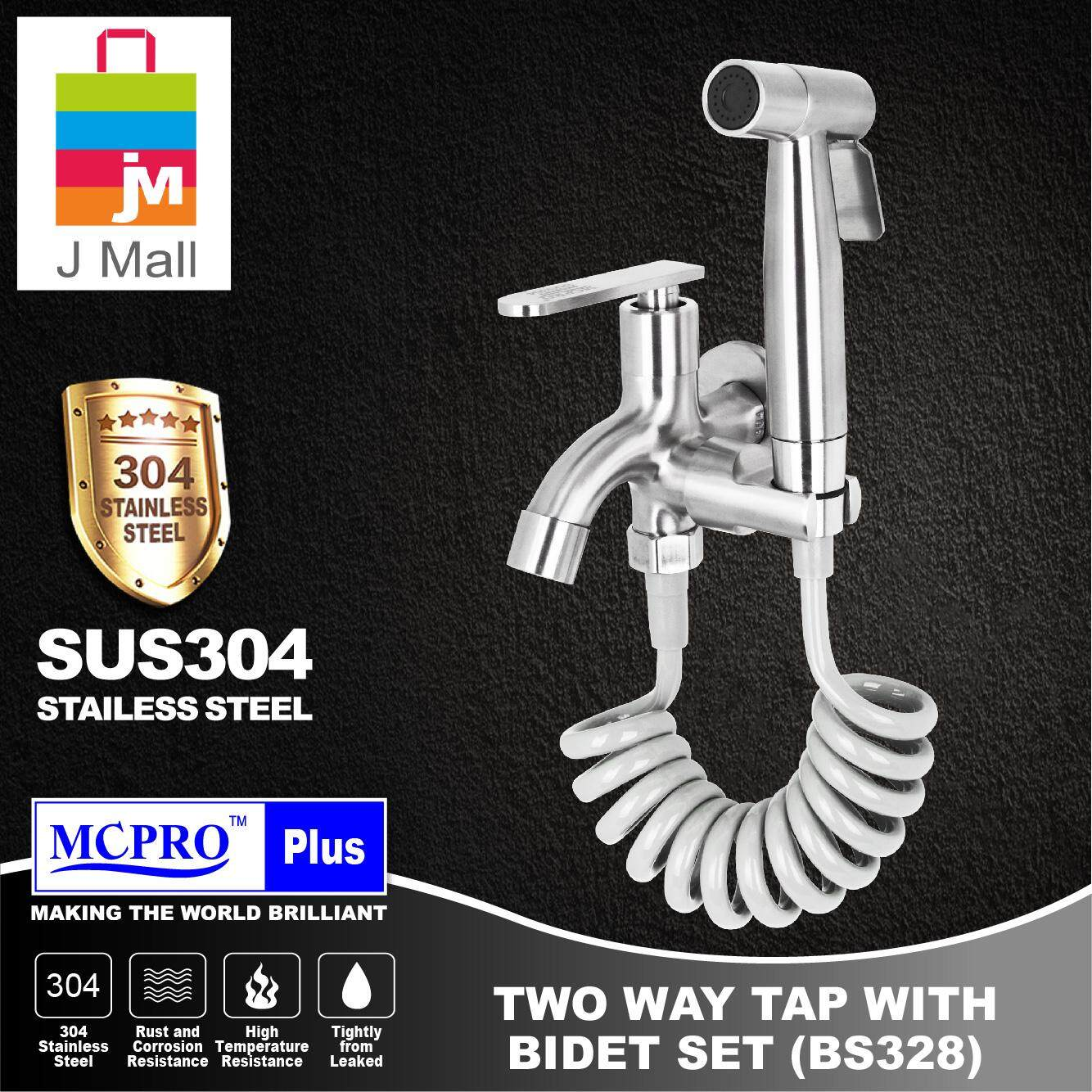 MCPRO Stainless Steel SUS304 Bathroom Faucet TWO WAY TAP bidet spray holder WITH BIDET AND FLEXIBLE HOSE SET SS602 (BS328)