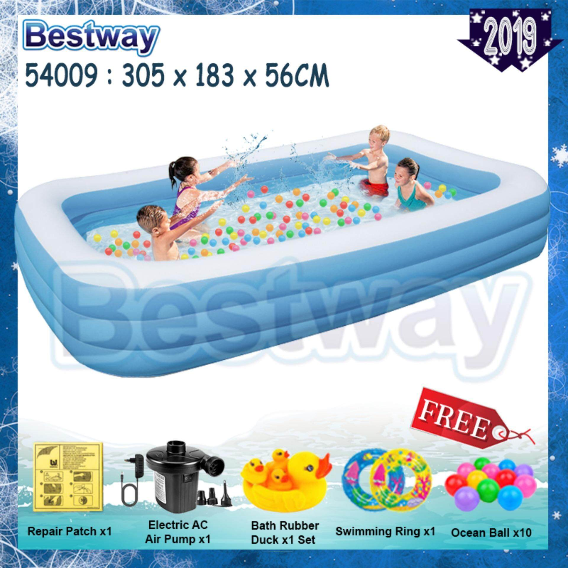 Bestway 3 05 Meter 54009 (305cm x 183cm x 56cm) Extra Large 3 Layers  Inflatable Family Swimming Pools For Kid or Family [NP170] -Premium Toys  for boys