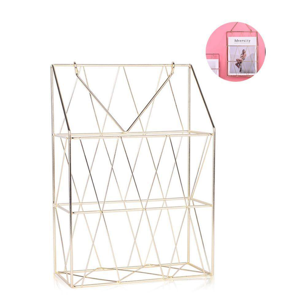 GoodGreat Nordic Roses Gold and Iron Art Books Magazines Newspapers Collection Baskets Portable Multifunctional Storage Bins