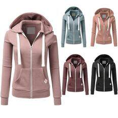 ZXZ Fashion Women Hoodies Sweatshirt Zipper Jacket Warm Solid Zipper Women Hoodies