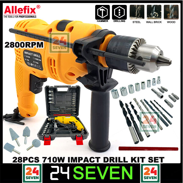 IMPACT HAMMER Allefix 13mm 710W Impact Hammer Drill 28pcs Tool Kit with Forward, Reverse Function and Speed Control