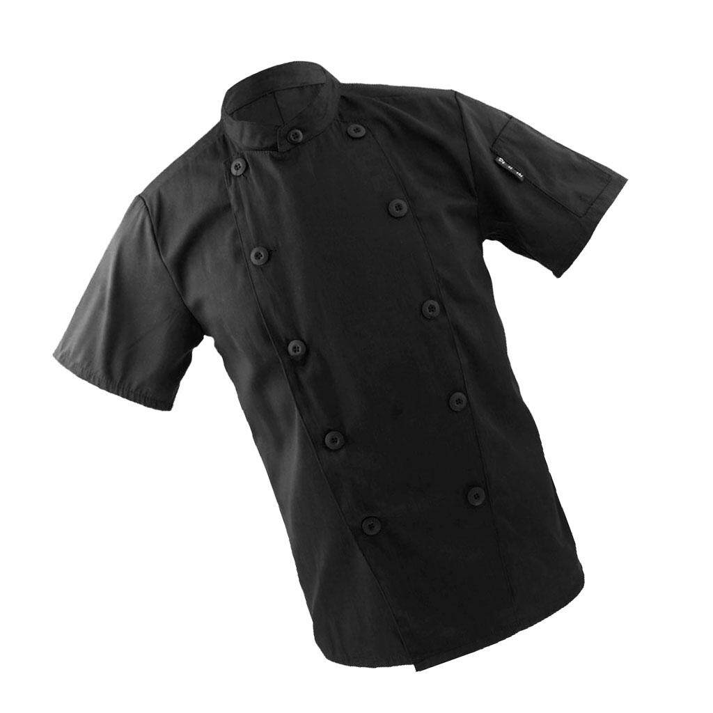 Fenteer Men Women Mandarin Collar Short Sleeve Chef Coat Uniform Tops Black L