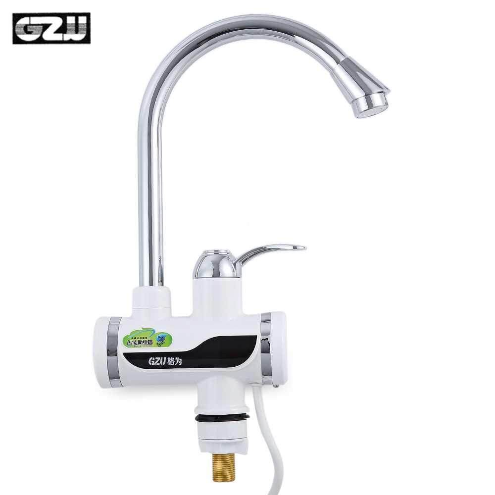 GZU ZM - D4 Tankless Electric Hot Water Heater Faucet Kitchen Kit with LED Digital Display (Silver)