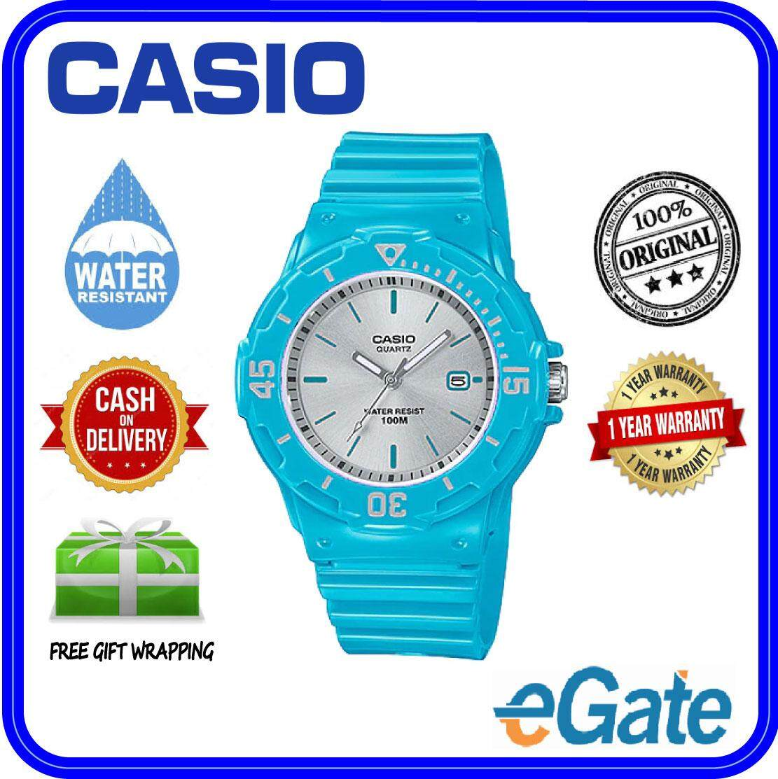 (2 YEARS WARRANTY) Casio LRW-200H-2E3V Kids & Ladies Analog Date Functioning Classic Light Blue Resin Strap Silver Case Original Casual Watch (LRW-200H) Malaysia