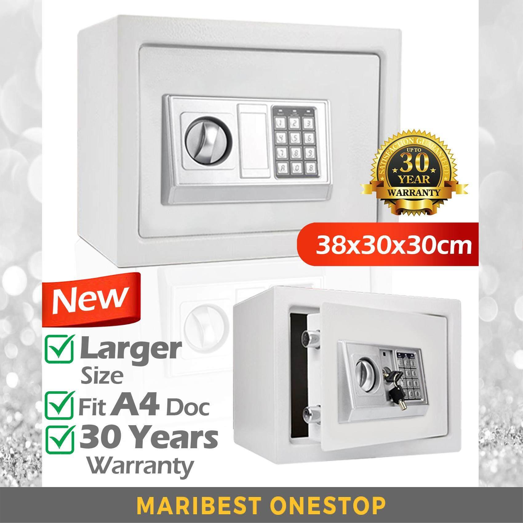 8 5KG Large 38cm Fit A4 Size Safety Box Safe Box Burglary Safe Box  Anti-Theft Box (White)