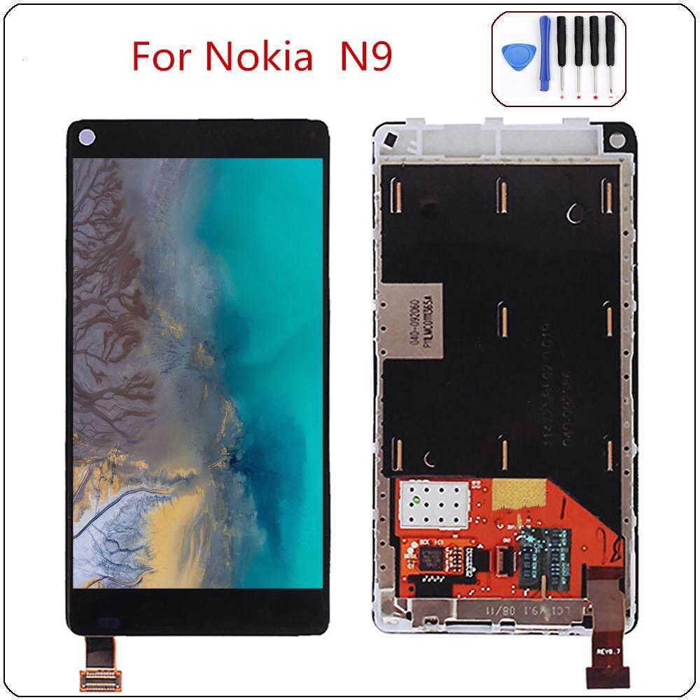AAA + Hitam Layar LCD untuk Nokia N9 Layar LCD Layar Sentuh Rakitan Digitizer Kaca