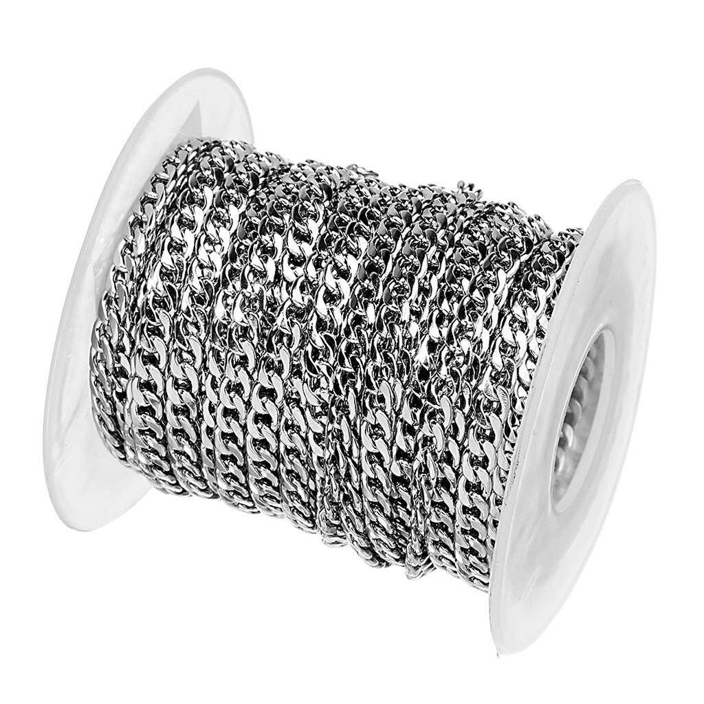 1 Roll 10 Yards Stainless Steel Curb Chain Jewelry Making Necklace Findings Lot