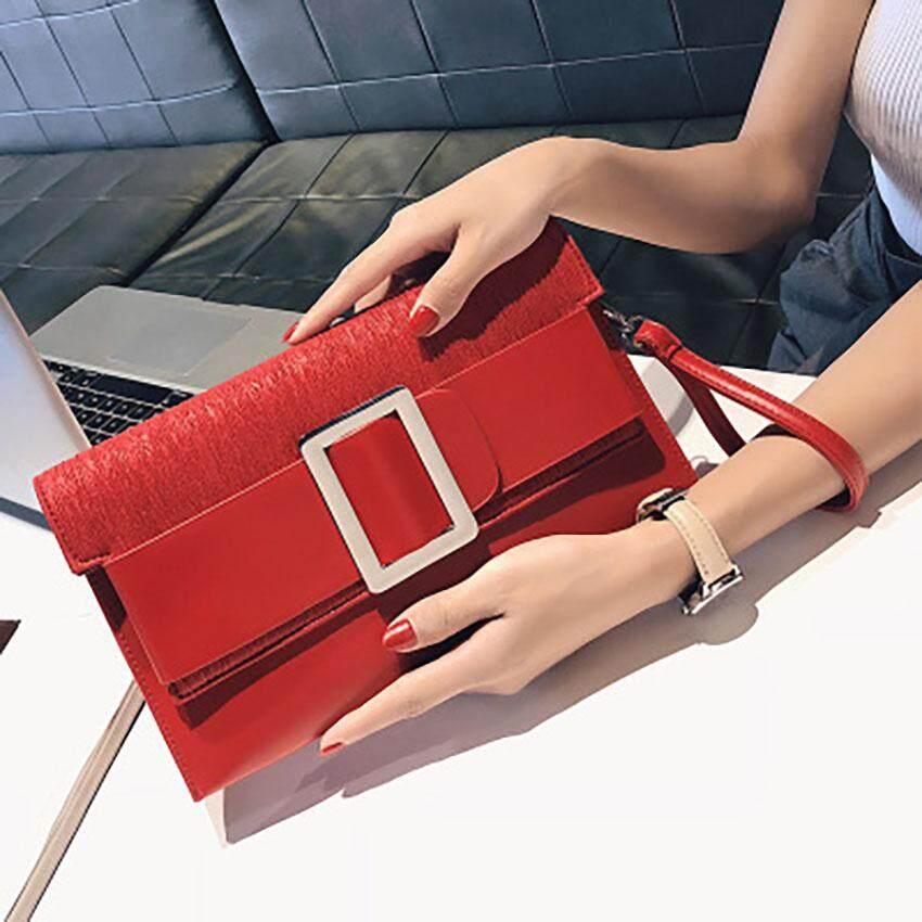 Unique2017 Korean Style Personality Metal Decoration Envelope Handbag Temperament Banquet Clutch Bag Casual Chain Shoulder Bag Fashion Simple Cross-Body Bag