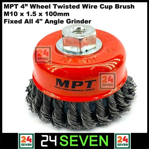 """[ READY STOCK ] High Quality MPT 4"""" Wheel Twisted Wire Cup Brush M10 x 1.5 x 100mm Fixed All 4 Angle Grinder Power Tools Deburring Flat Cup Rust Clean Steel Wire Wheel Twist Knot Angle Grinder Brush"""