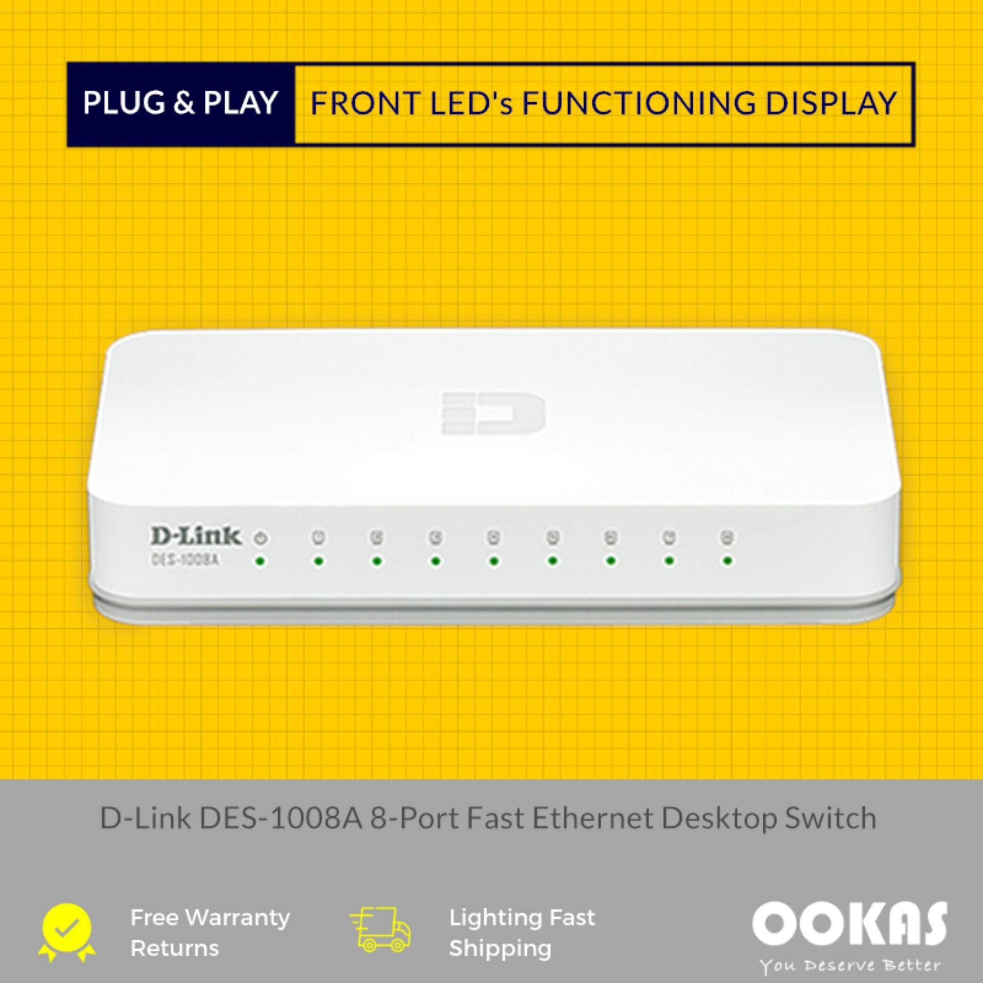 D-LINK 8 Port 10/100 Switch Ethernet Network Switch DES-1008A