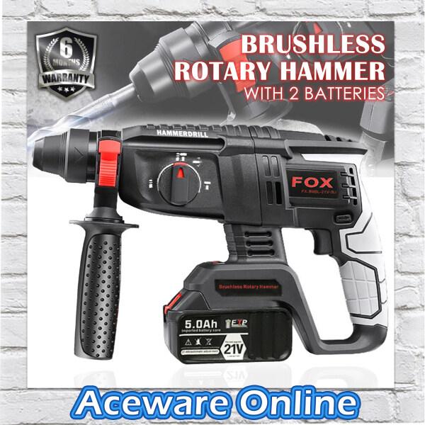 Fox FX-3MBL-21V-2LI Cordless Brushless Motor 26mm Rotary Hammer Drill with 2 Lithium 21V Battery