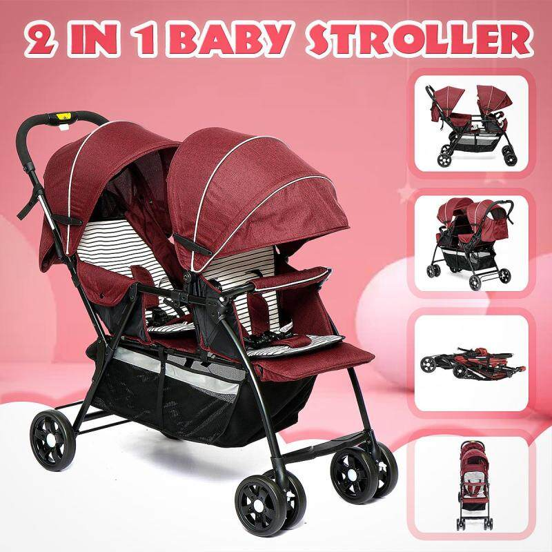 【September New Arrival】(RED-2 in 1) Comfortable Double Seat Twin Baby Child Front And Back Tandem Compact Stroller-With large storage basket, sun canopy and foldable back seat - Dark red Singapore
