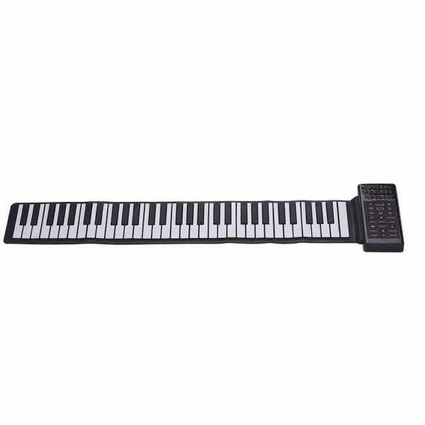 Multifunction Portable Electric 61 Keys Hand Roll Up Piano Flexible Silicone Piano Keyboard Built-in Speaker Rechargeable Lithium Battery Reverberation BT Function Digital Piano Keyboard (White+Black) Malaysia
