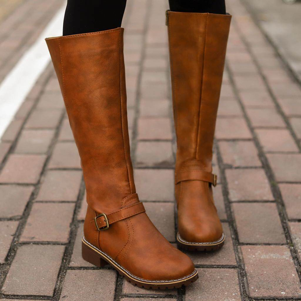 Guo Vintage Women Square Heel Zipper Leather Boots Keep Warm Boots Round Toe Shoes By Hongshouguostore.