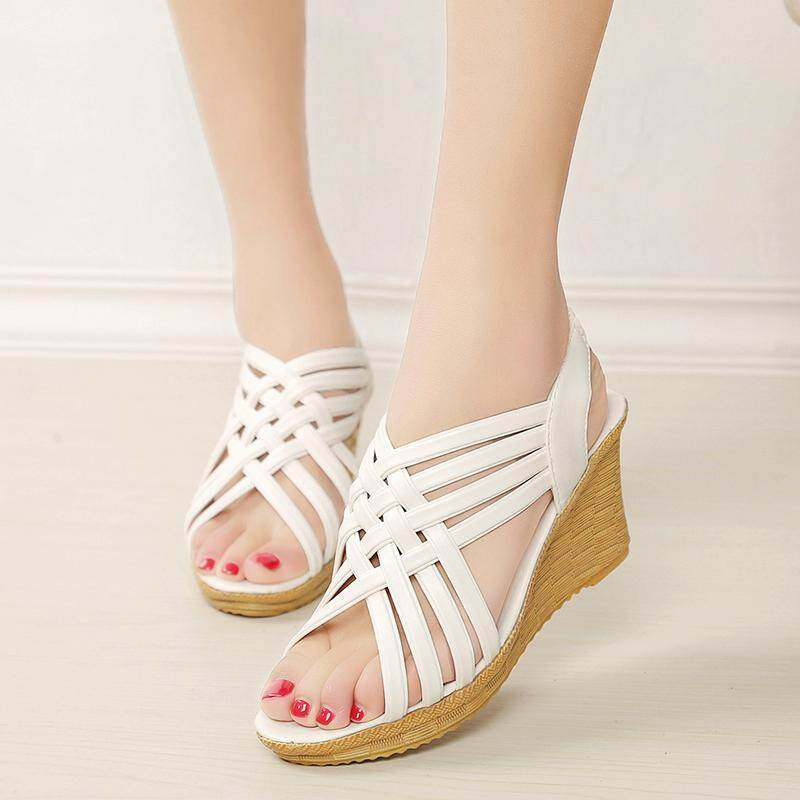 49beafa1cb881 485228 items found in Shoes. Wedge Sandal Female Summer 2019 New Style  Weaving Thin Drawstring Romanesque Europe And America Hollow out