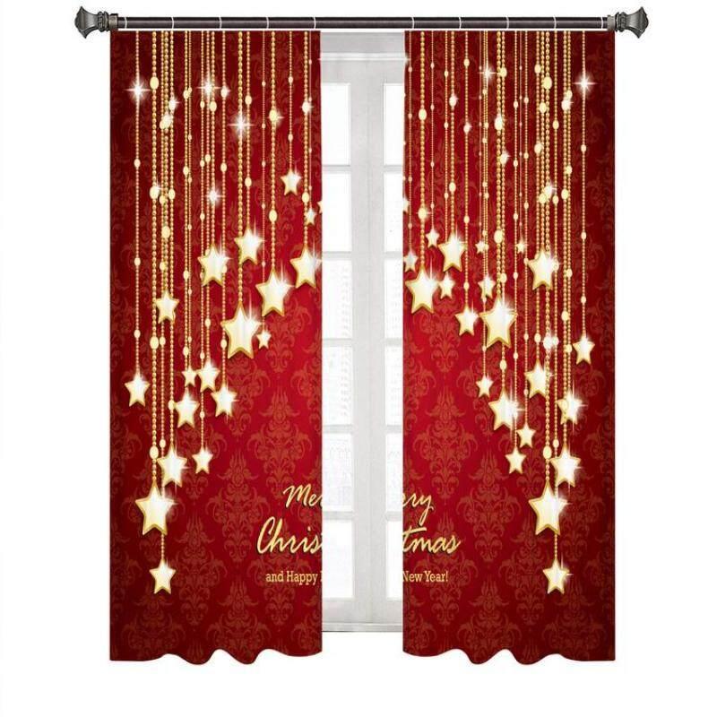 Rèm Cửa Giáng Sinh In Hình Kỹ Thuật Số, 2 Chiếc, Rèm Cửa Bằng Sợi Polyester, Thích Hợp Cho Phòng Khách Và Phòng Ngủ
