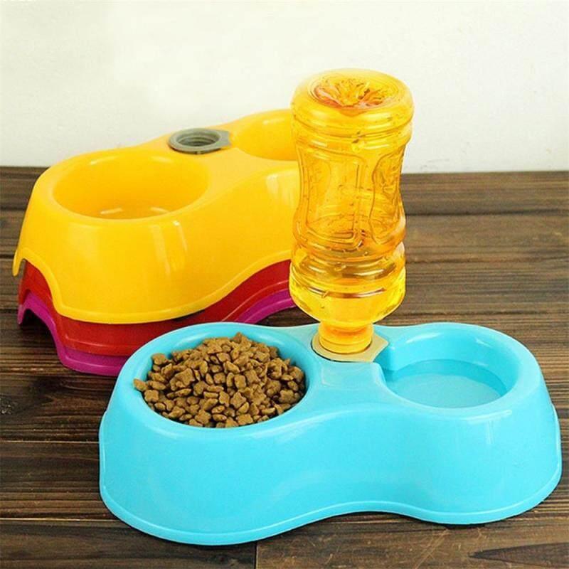 Puppy Chai Nhựa Mèo Đôi Món Ăn Cho Thú Cưng Ăn Thức Ăn Cho Chó Uống Nước Tự Động