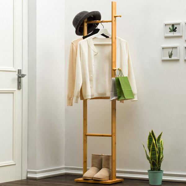 Simple Wood Coat Rack Floor Solid Bedroom Hanger Clothes Rack Household Clothes Storage Simple Modern Living Room Rack