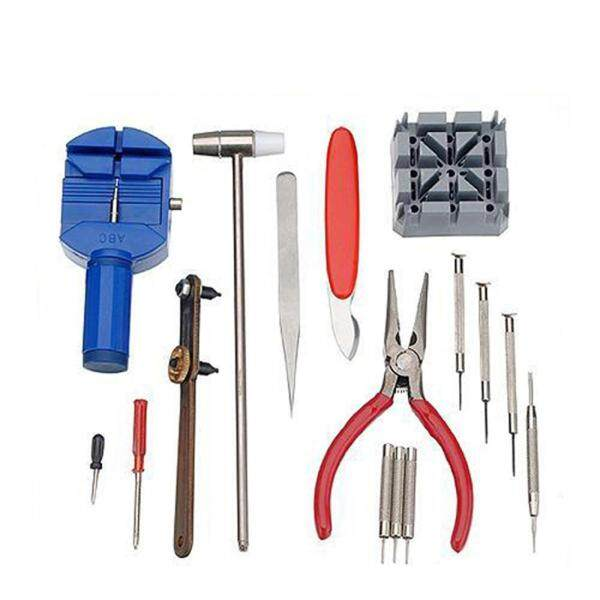 YD-008 16PCS Watch Repair Tool Kit Professional Case Opener Spring Bar Remover Screwdriver Wristwatch Repair Pin Strap Link Remover Watchmaker Tool with Hammer Malaysia