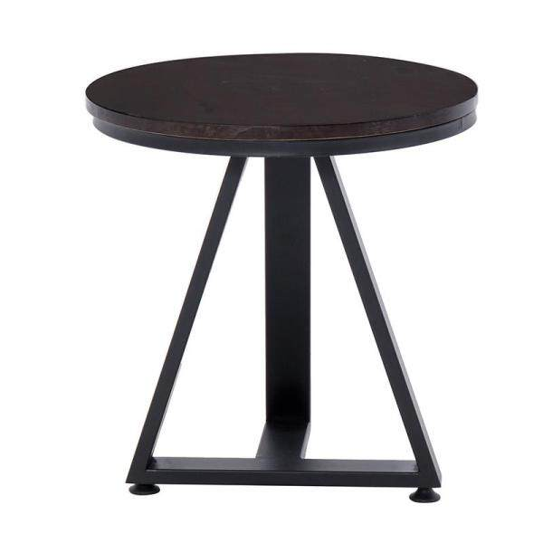 50 x 50 cm, Round Snack Side Table, Mobile End Round Table for Coffee Laptop Tablet, Slides Next to Sofa Couch, Wood Tabletop Furniture with Solid Triangle Metal Frame