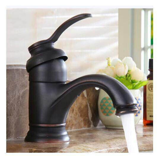 Bathroom Faucet Hot Cold Tap Antique Brass Retro Basin Sink Mixer Taps Deck Mounted Vintage Kitchen Waterfall Mixer Black