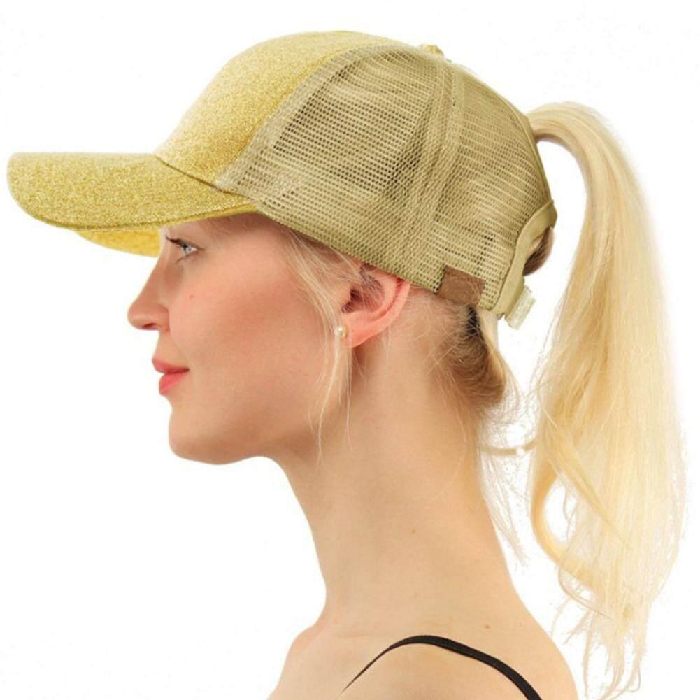 ป้องกันแสงแดดในฤดูร้อนหมวกเบสบอลปรับแฟชั่นเลื่อมผู้หญิงกลางแจ้งหมวกหมวกตาข่ายกลมหลากสีกีฬา By Outjoy988.