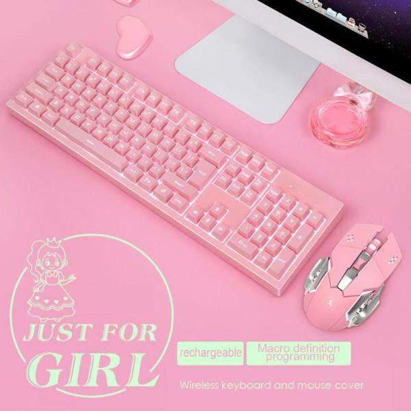 【Available Stock hot Sale】K616 Wireless Keyboard Mouse Set Pink Cute Girls Keypad and Mouse Set PC Gaming Keyboard Mouse Computer Malaysia