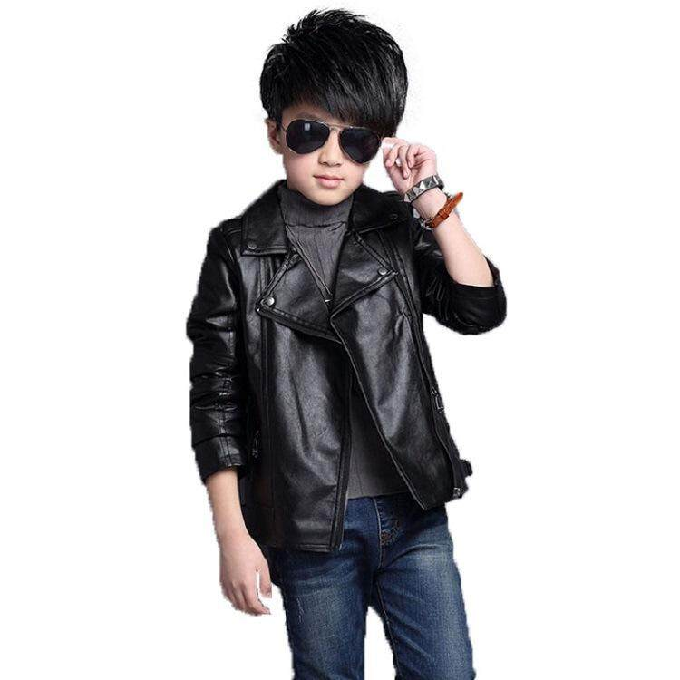 6eef981ee84d Spring autumn Kids Boys Girls Leather Coat for Children PU Leather Cool  Jackets for Girls Solid