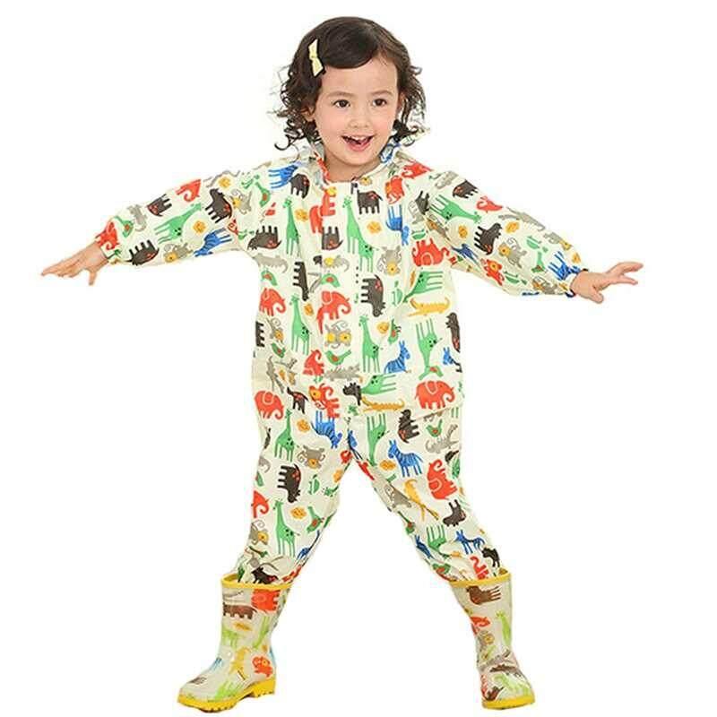 Children Cartoon Waterproof Raincoat Jumpsuit Rainwear Raincover for Boys Girls