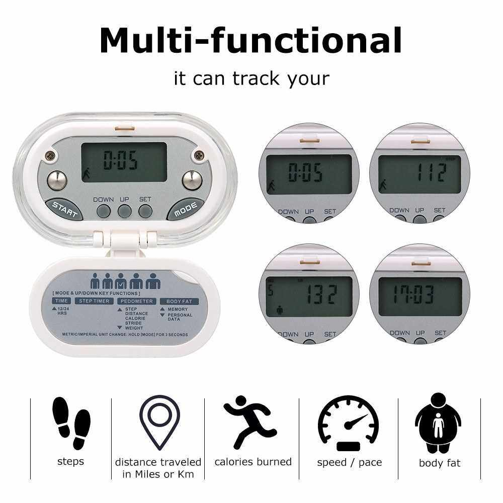 Walking Pedometer Step Distance Calorie Counter Fitness Belt Digital LCD Clip On